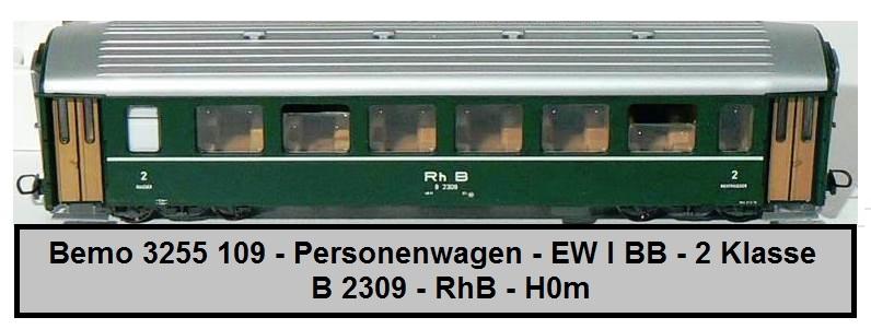 Epoche V BEMO 3255149 RhB B 2309 Einheitswagen I Spur H0m